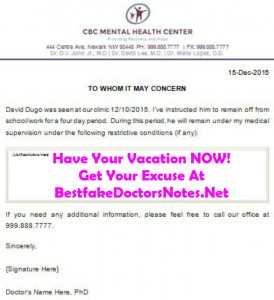 Classification of a doctor's note